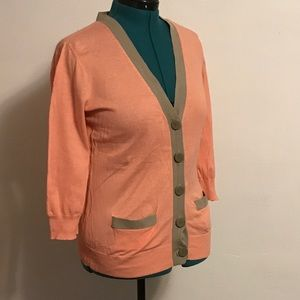 Preppy Peach and Tan Cardigan by Banana Republic